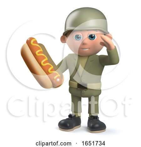 Hungry  Army Soldier Character Holding a Hotdog and Saluting by Steve Young
