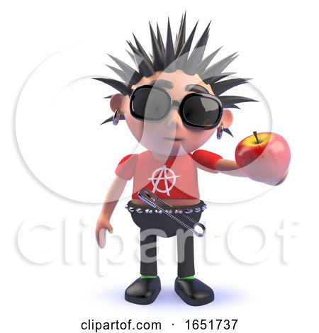 Character 3d Punk Kid Holding an Organic Apple by Steve Young