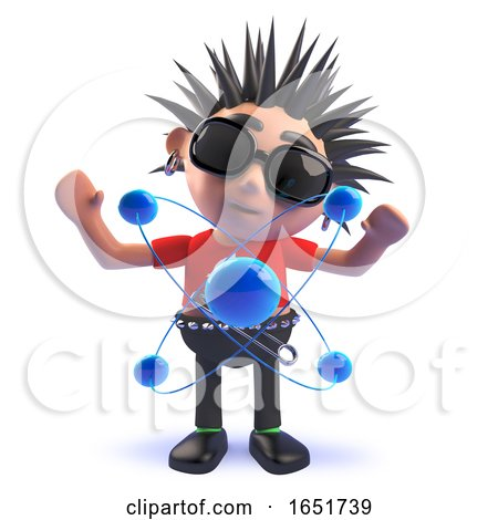 Punk Rocker Character in 3d Mesmerized by an Atom and Its Nucleus and Electrons by Steve Young