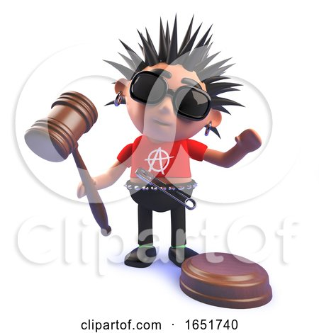 Punk Rocker Kid in 3d Holding an Auction Gavel by Steve Young