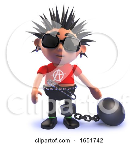 3d Punk Rocker Kid Wearing a Ball and Chain by Steve Young