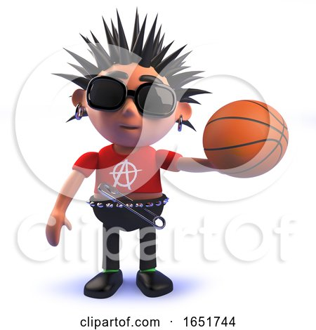 Punk Rocker 3d Kid Character Holding a Basketball by Steve Young
