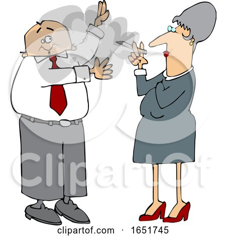 Cartoon White Business Man Waving Away Smoke from a Woman by djart