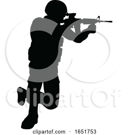 Silhouette Soldier by AtStockIllustration