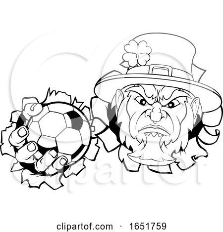 Leprechaun Soccer Mascot Ripping Background by AtStockIllustration