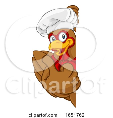 Chicken Chef Cartoon Rooster Cockerel Mascot Sign by AtStockIllustration