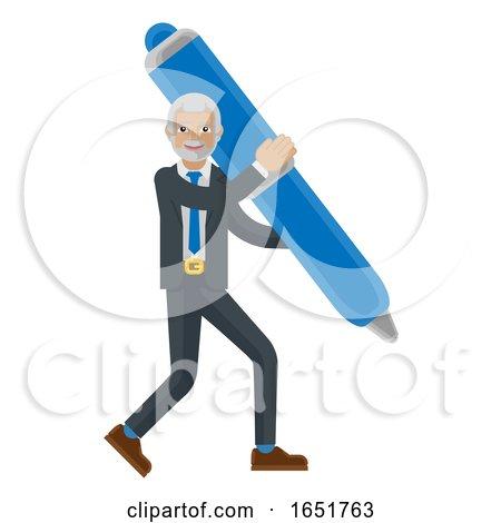 Mature Business Man Holding Pen Mascot Concept by AtStockIllustration