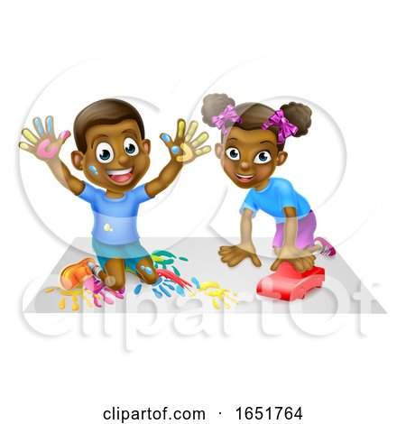 Two Children Playing by AtStockIllustration