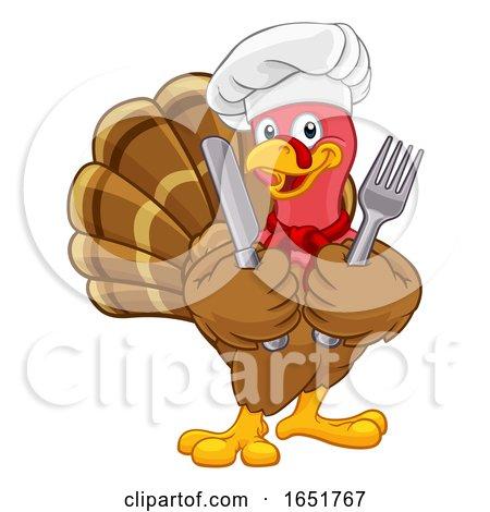 Turkey Chef Thanksgiving or Christmas Cartoon by AtStockIllustration