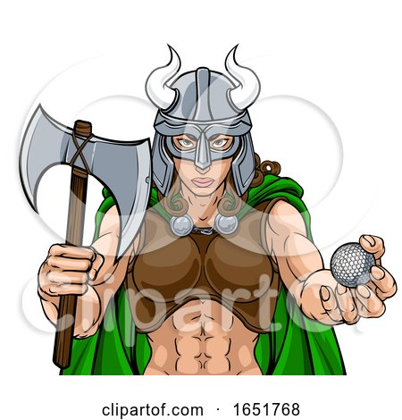 Viking Female Gladiator Golf Warrior Woman by AtStockIllustration