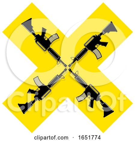 Yellow Cross with Guns by Lal Perera