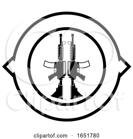 Black and White Icon with Guns by Lal Perera