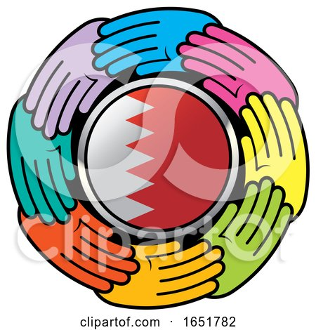 Circle of Colorful Hands Around a Bahrain Flag by Lal Perera