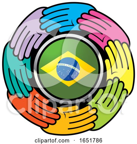 Circle of Colorful Hands Around a Brazilian Flag by Lal Perera