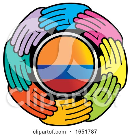 Circle of Colorful Hands Around a Colombian Flag by Lal Perera