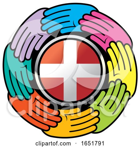 Circle of Colorful Hands Around a Denmark Flag by Lal Perera