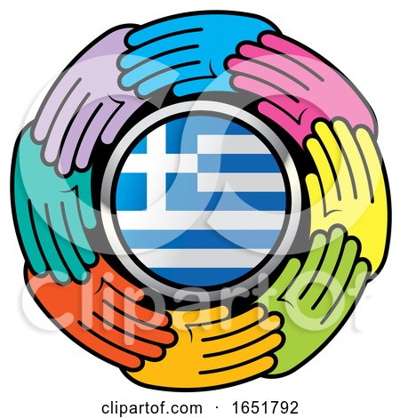 Circle of Colorful Hands Around a Greek Flag by Lal Perera
