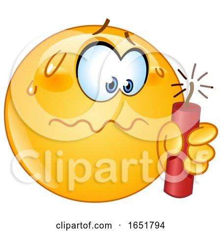 Cartoon Yellow Smiley Emoji Holding a Stick of Dynamite by yayayoyo