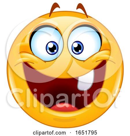 Cartoon Yellow Smiley Emoji with One Tooth by yayayoyo