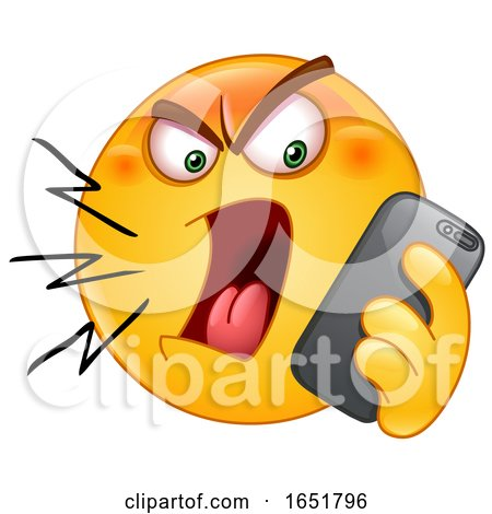 Cartoon Yellow Smiley Emoji Screaming at a Cell Phone by yayayoyo