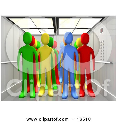 Diverse Group Of Colorful People In An Elevator  Posters, Art Prints