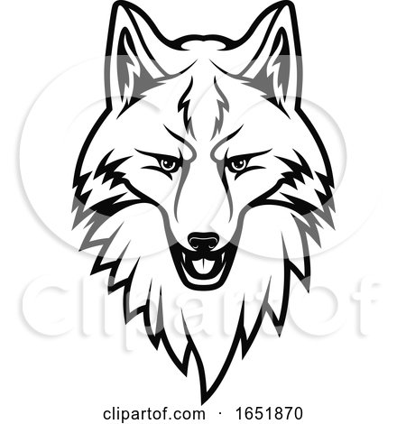 Black and White Fox Head by Vector Tradition SM