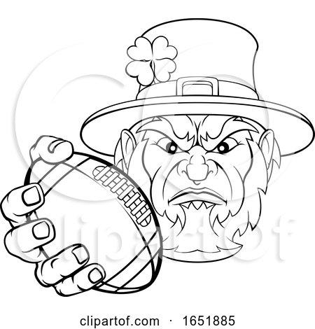 Leprechaun Holding Football Ball Sports Mascot by AtStockIllustration