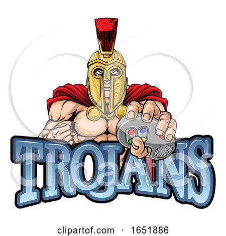 Trojan Spartan Gamer Warrior Controller Mascot by AtStockIllustration
