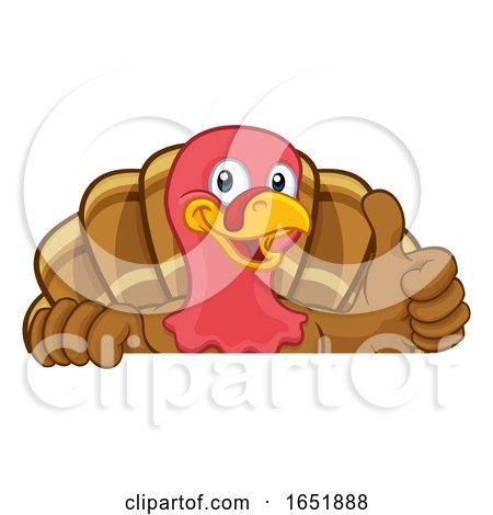 Turkey Thanksgiving or Christmas Cartoon Character by AtStockIllustration