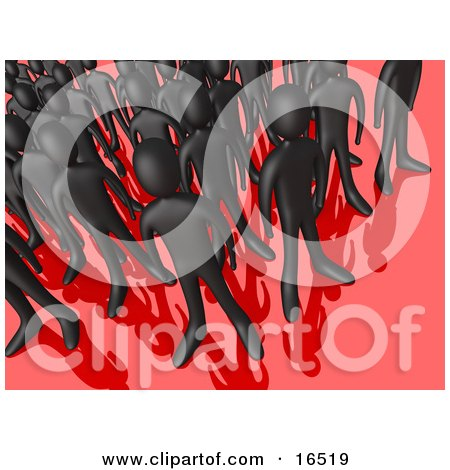 Crowd Of Black People Standing Together On A Reflective Red Surface, Symbolizing Teamwork And Unity  Posters, Art Prints
