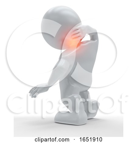 3D Figure Holding His Neck in Pain by KJ Pargeter