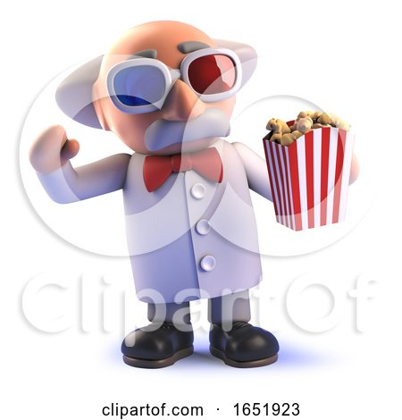 Crazy Mad Scientist Watching a Movie with 3d Glasses and Popcorn by Steve Young