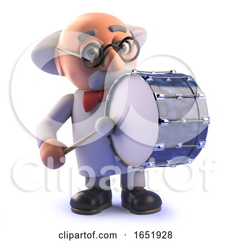 Mad Scientist Professor Character Playing a Bass Drum by Steve Young