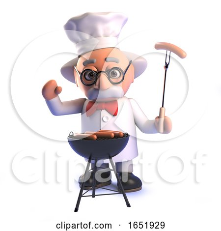 Mad Scientist Professor Cooking a Bbq by Steve Young