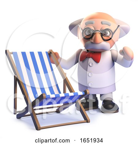Crazy Mad Scientist Cartoon Character Standing Next to a Holiday Deckchair by Steve Young