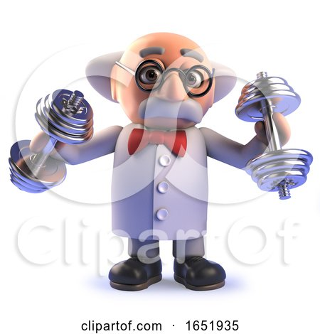 Crazy Mad Scientist Cartoon Character Exercising with Dumbells by Steve Young