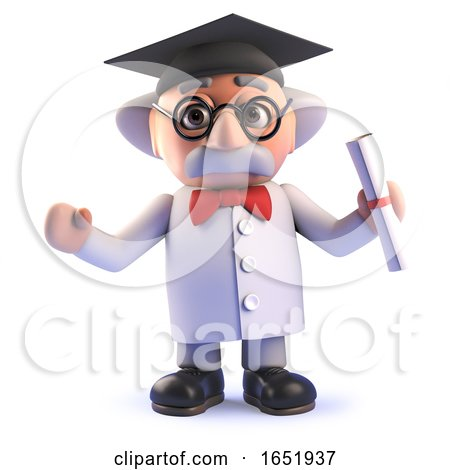 Mad Scientist Character Wearing a Mortar Board and Holding a Diploma by Steve Young