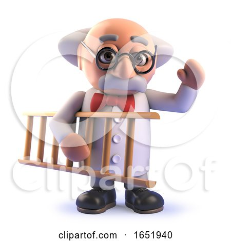 Cartoon 3d Mad Scientist Professor Holding a Ladder by Steve Young
