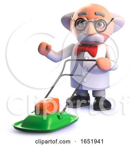 Cartoon 3d Mad Scientist Character Using a Hover Lawn Mower by Steve Young