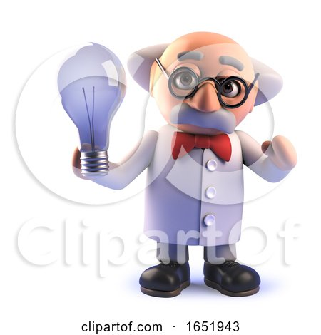 Cartoon Mad Scientist Character Holding a Lightbulb by Steve Young