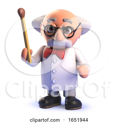 Cartoon 3d Mad Professor Scientist Character Holding a Match by Steve Young