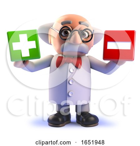 Mad Scientist Cartoon Character Holding a Plus and Minus Symbol by Steve Young