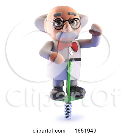 Cartoon 3d Mad Scientist Character Bouncing on a Pogo Stick by Steve Young
