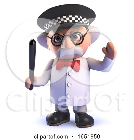 Cartoon 3d Mad Scientist Character Wearing a Police Helmet and Holding a Truncheon by Steve Young