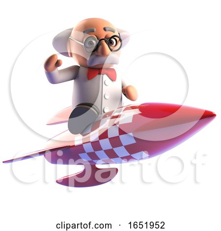 Cartoon 3d Mad Scientist Character Riding a Spaceship by Steve Young