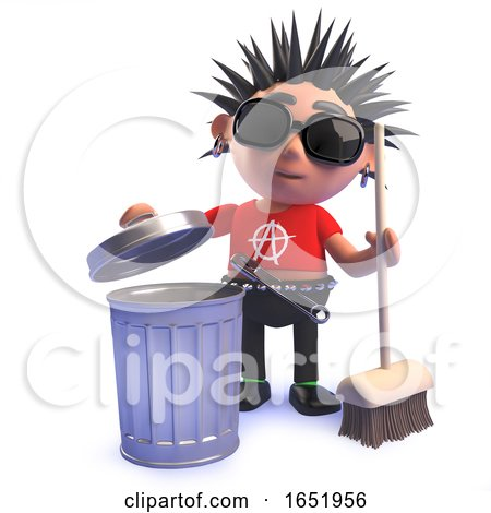 Punk Rock Kid in 3d Next to a Trash Can with a Broom by Steve Young