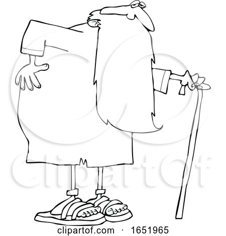 Cartoon Black and White Father Time Holding His Back and Walking with a Cane by djart