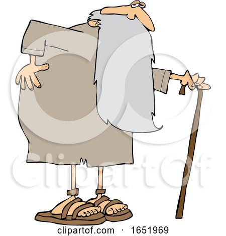 Cartoon Father Time Holding His Back and Walking with a Cane by djart