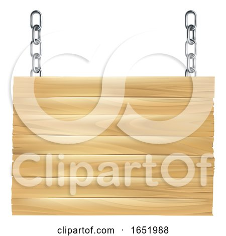 Wooden Sign Hanging from Chains by AtStockIllustration