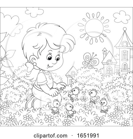 Black and White Girl Playing with Chicks Posters, Art Prints